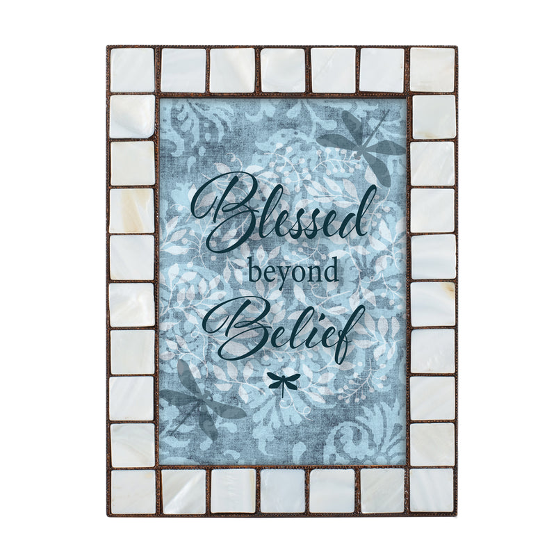 Blessed Beyond Belief Mother of Pearl Amber 5 x 7 Table Top and Wall Photo Frame