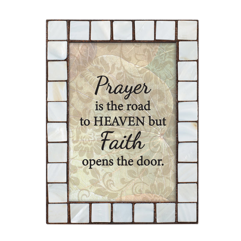 Faith Opens the Door to Heaven Mother of Pearl Amber 5 x 7 Table Top and Wall Photo Frame