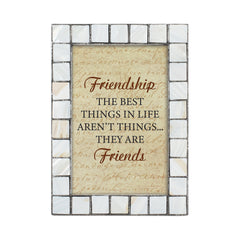 Friendship is the Best Mother of Pearl Grey Brush 5 x 7 Table Top and Wall Photo Frame