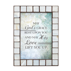May His Love Lift You Up Mother of Pearl Amber 5 x 7 Table Top and Wall Photo Frame