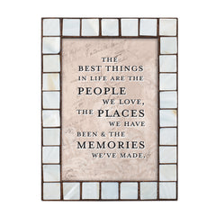 People Places and Memories Mother of Pearl Amber 5 x 7 Table Top and Wall Photo Frame