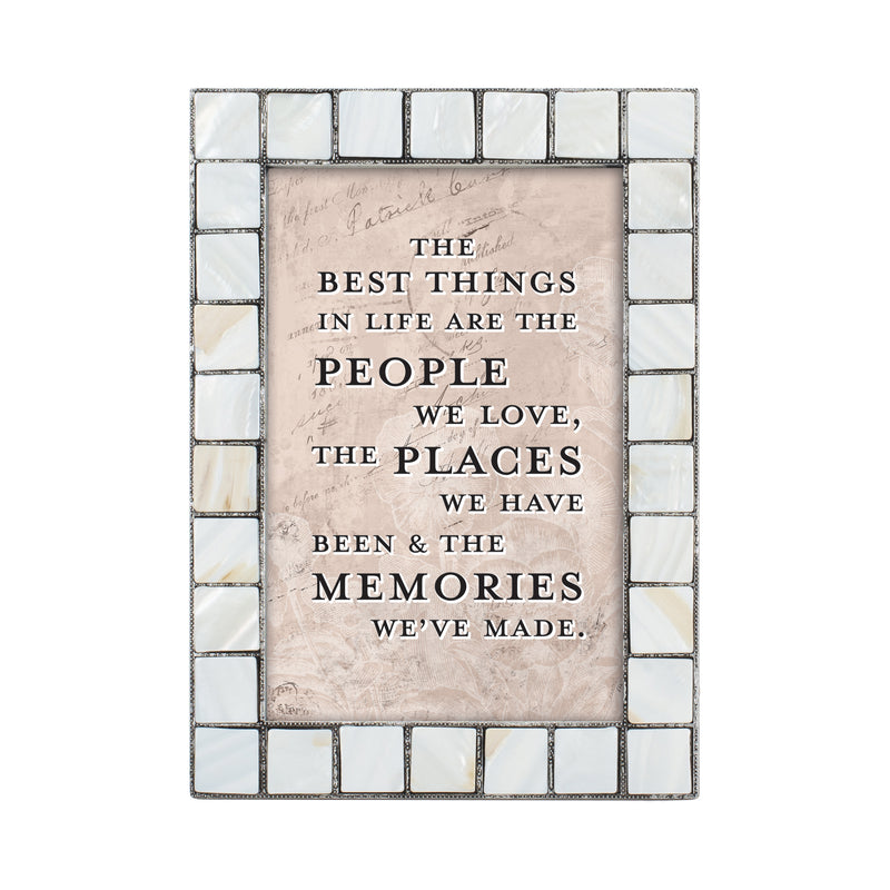 People Places and Memories Mother of Pearl Grey Brush 5 x 7 Table Top and Wall Photo Frame