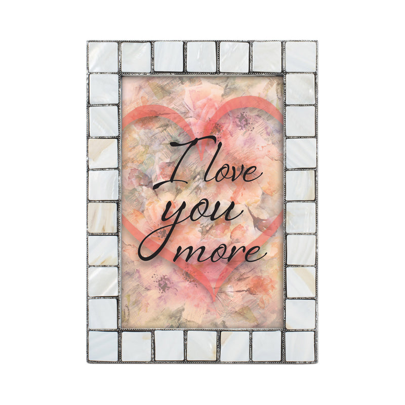 I Love You  Greybrush 5 x 7  Mother Of Pearl Photo Frame