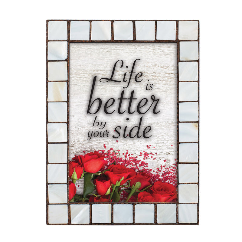 Life Is Better With You Amber 5 x 7  Mother Of Pearl Photo Frame