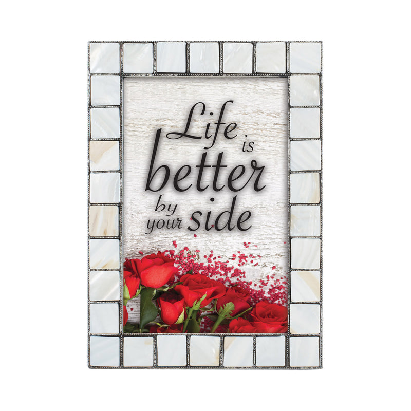 Life Is Better Greybrush 5 x 7  Mother Of Pearl Photo Frame