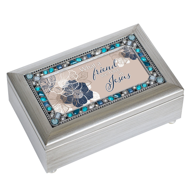 What A Friend We Have Champagne Silver 7 X 4 Mdf Wood Musical Box Plays Tune Friend In Jesus