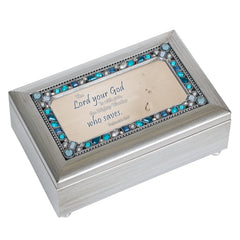 The Lord Is With You Champagne Silver 7 X 4 Mdf Wood Musical Box Plays Tune Friend In Jesus