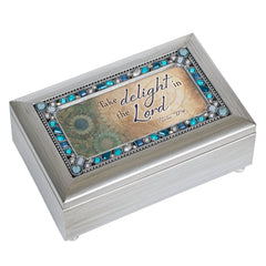 Take Delight In The Lord Champagne Silver 7 X 4 Mdf Wood Musical Box Plays Tune How Great Thou Art