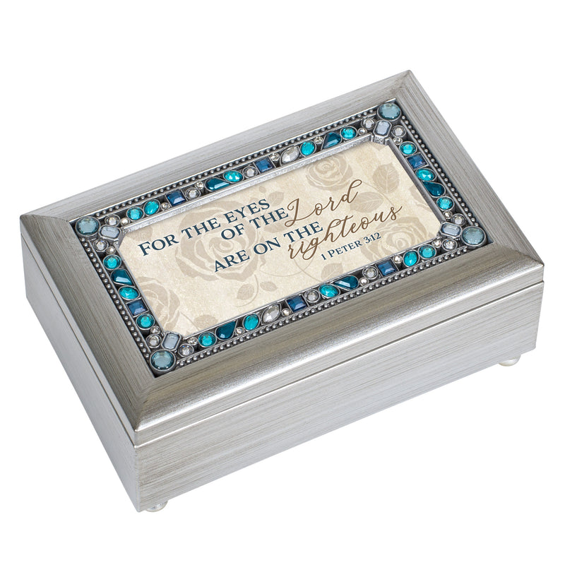 The Eyes Of The Lord Champagne Silver 7 X 4 Mdf Wood Musical Box Plays Tune How Great Thou Art