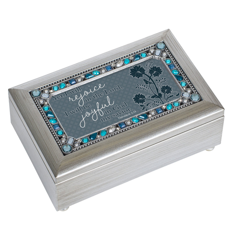 Rejoice In Him Champagne Silver 7 X 4 Mdf Wood Musical Box Plays Tune How Great Thou Art