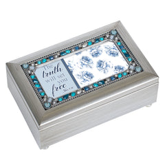 Truth Will Set You Free Champagne Silver 7 X 4 Mdf Wood Musical Box Plays Tune How Great Thou Art