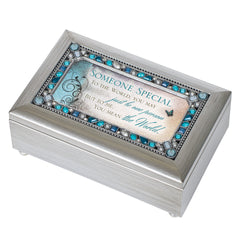 Someone Special Jeweled Silver Finish Jewelry Music Box - Plays Tune Wind Beneath My Wings
