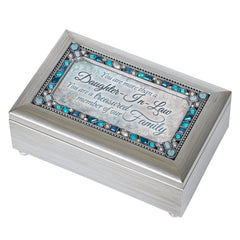 Daughter In Law Silver Tone Jewel Beaded Petite Music Box Plays Wind Beneath My Wings