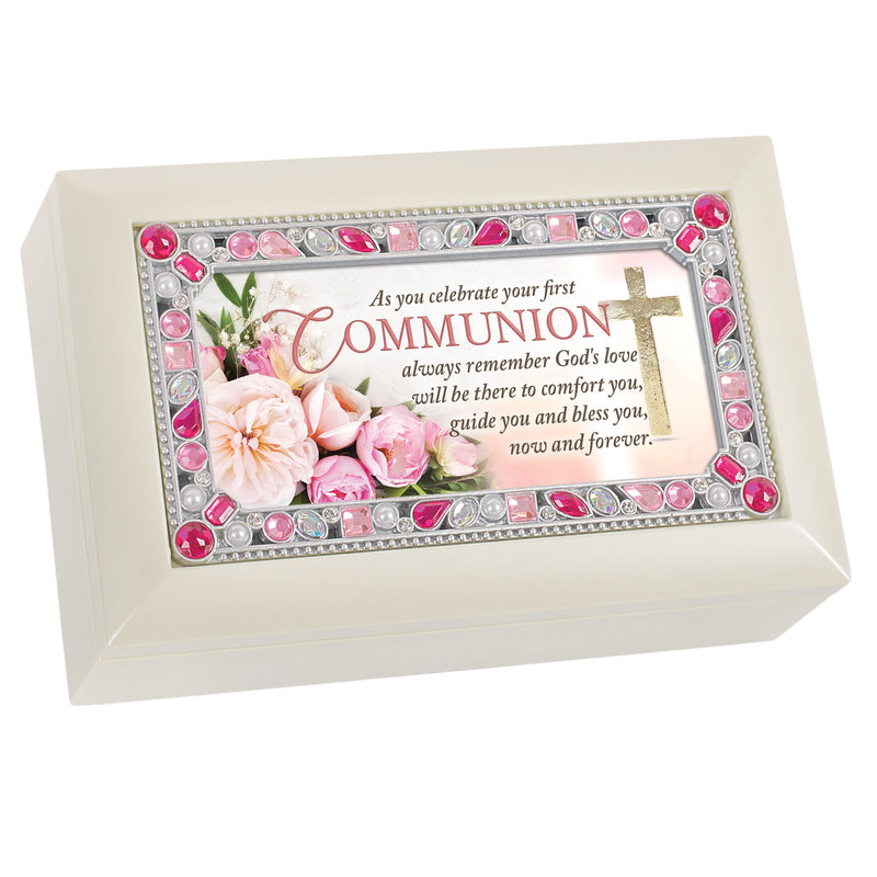 First Communion God's Love Flowery White Petite Jeweled Music Box Plays Jesus Loves Me