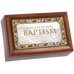 With Love On Your Baptism Woodgrain Petite Jeweled Music Box Plays Jesus Loves Me