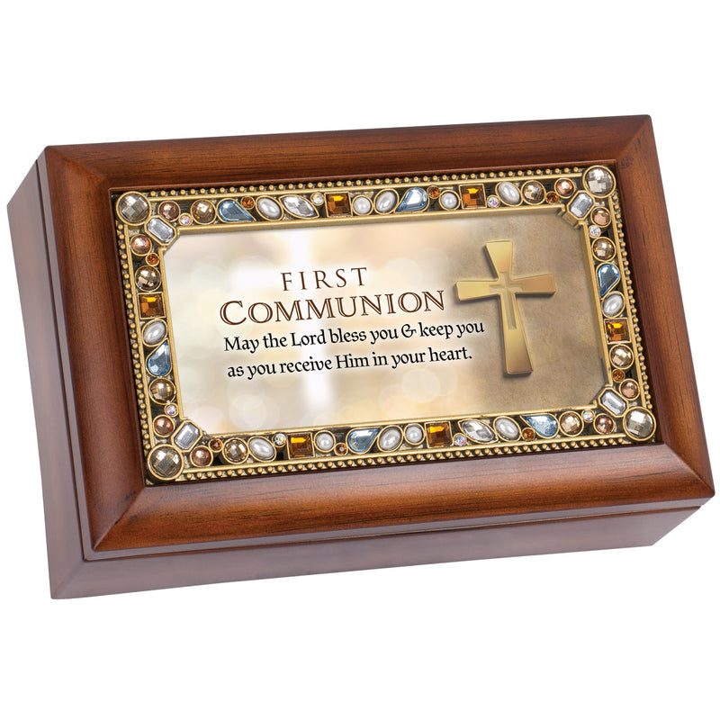 First Communion Lord Bless You Woodgrain Petite Jeweled Music Box Plays Jesus Loves Me