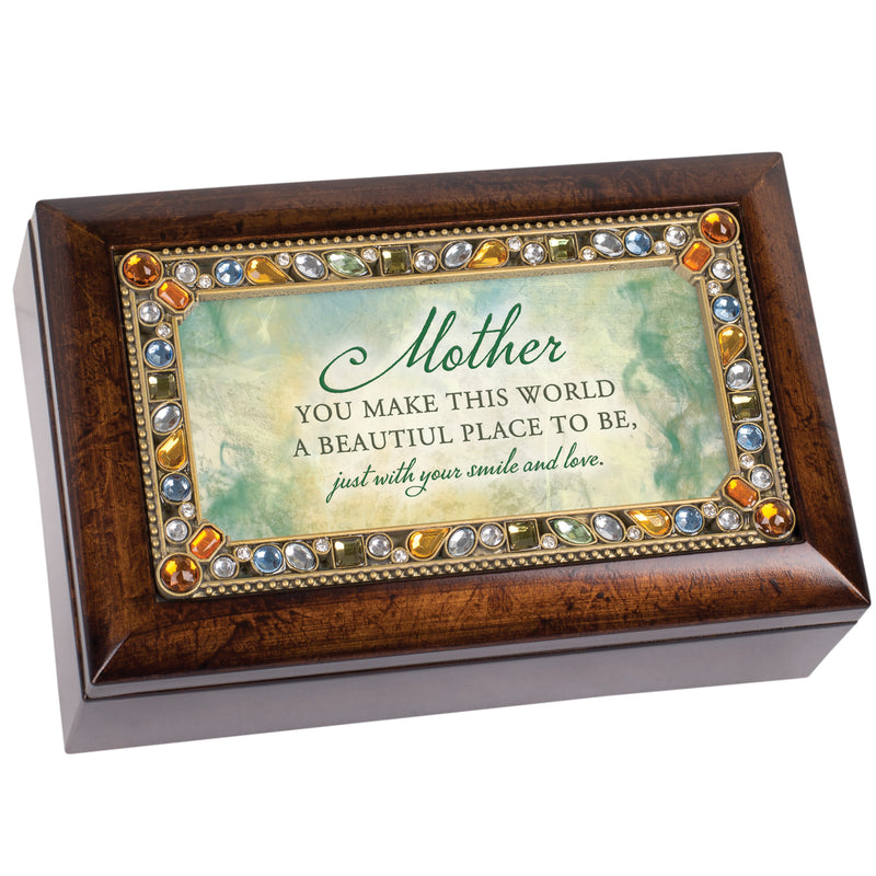 Mother You Make This World Beautiful Amber Jewelry Petite Music Box Plays Wonderful World