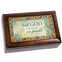 With Him All is Possible Inspirational Amber Jewelry Petite Music Box Plays How Great Thou Art