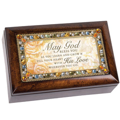 Fill Your Heart With His Love Inspirational Amber Jewelry Petite Music Box Plays Friend In Jesus