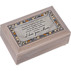 I Love You Mom You Are Amazing Brushed Pewter Jewelry Petite Music Box Plays You Light Up My Life