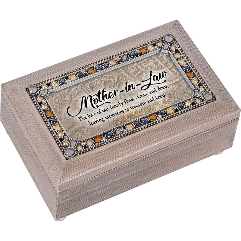 Mother-in-Law Love Brushed Pewter Jewelry Petite Music Box Plays Wind Beneath My Wings