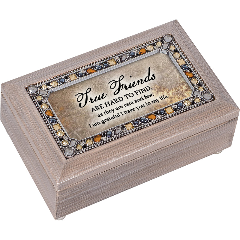 True Friends Hard to Find Brushed Pewter Jewelry Petite Music Box Plays Edelweiss