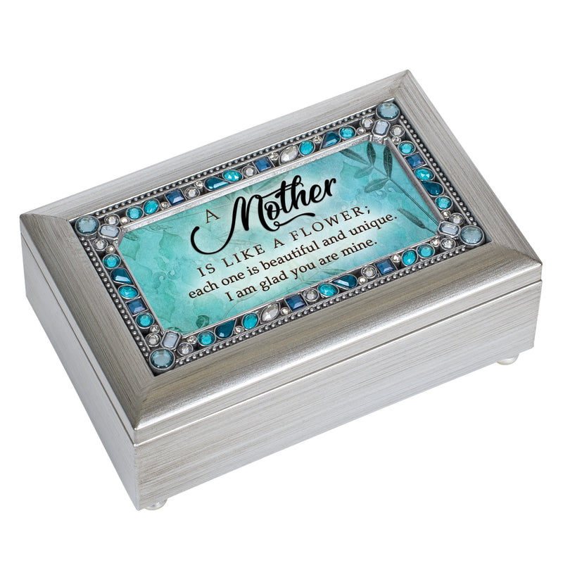 Mother You are Beautiful Brushed Silvertone Jewelry Petite Music Box Plays Wind Beneath My Wings