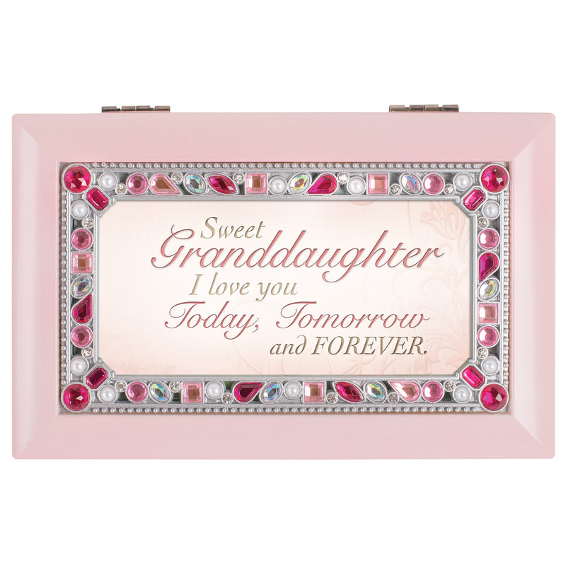 Sweet Granddaughter I Love You Matte Pink Jewelry Music Box Plays You Are My Sunshine
