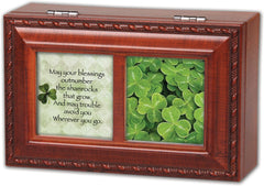 Irish Blessing Blessings Outnumber Woodgrain Rope Trim Jewelry Music Box Plays Irish Lullaby
