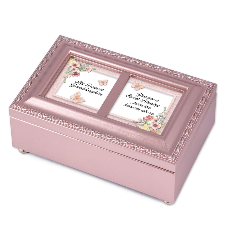 Dearest Granddaughter Sweet Blessing Matte Pink Jewelry Music Box Plays You Light Up My Life