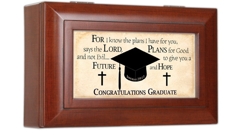 Congratulations Graduate Woodgrain Jewelry Music Box Plays Pomp And Circumstance
