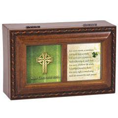 May God Give Rainbow for Every Storm Woodgrain Rope Trim Jewelry Music Box Plays Amazing Grace