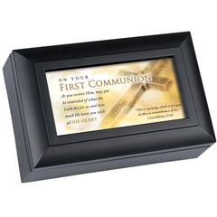 First Communion Loved Matte Black Petite Traditional Music Box Plays How Great Thou Art