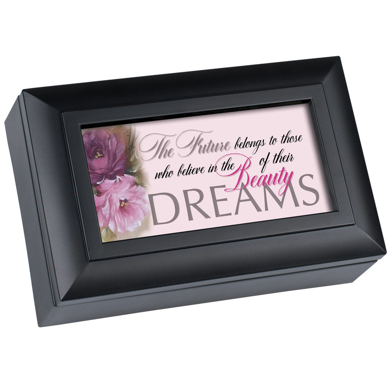Believe in the Beauty of Your Dreams Matte Black Bevel Petite Music Box Plays Pomp & Circumstance