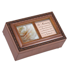 Treasuring Memories Woodgrain Rope Trim Petite Music Box With Locket Plays Wind Beneath My Wings
