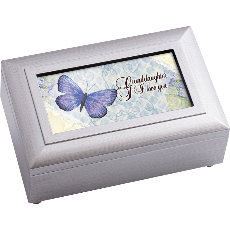 Granddaughter Love You Distressed White 6 x 4 Music Box Plays Tune Amazing Grace