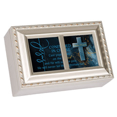 Confirmation  Distressed White 6 x 4 Music Box Plays Tune How Great Thou Art