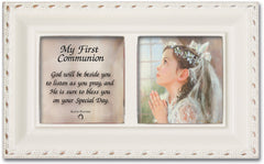 First Communion God Beside You Matte Ivory Jewelry Music Box Plays Ave Maria