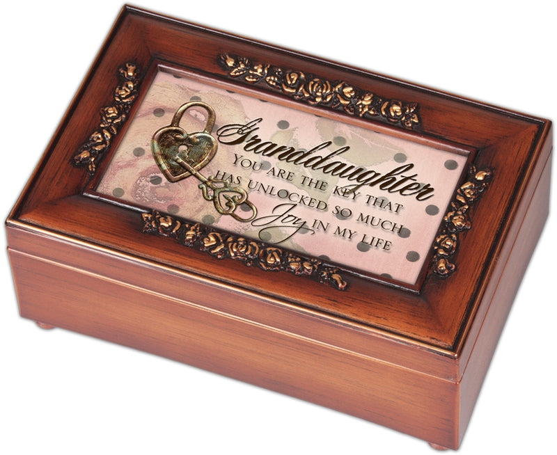 Granddaughter Key That Unlocked Woodgrain Embossed Jewelry Music Box Plays You Light Up My Life