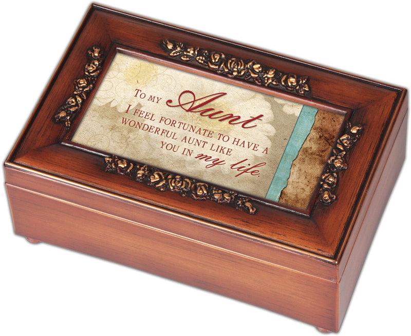 Aunt Fortunate to Have You Woodgrain Embossed Jewelry Music Box Plays Wonderful World