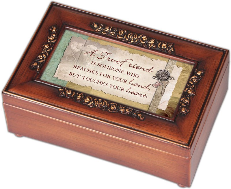 True Friend Reaches Hand Touches Woodgrain Embossed Jewelry Music Box Plays That's What Friends Are For