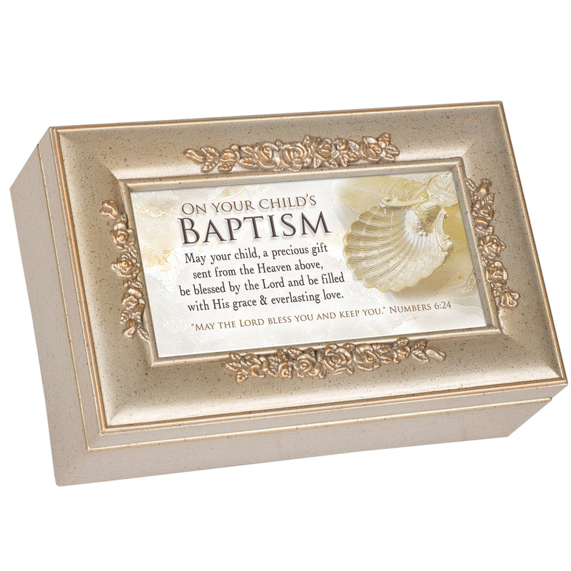 On Your Child's Baptism Champagne Silver Petite Rose Music Box Plays Amazing Grace