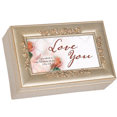 Love You Inspirational Champagne Silvertone Bevel Petite Rose Music Box Plays How Great Thou Art