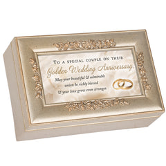 Golden Wedding Anniversary Champagne Silvertone Bevel Petite Rose Music Box Plays You Light Up My Life