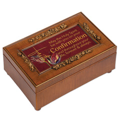 Confirmation Holy Spirit Brown 6 x 4 Music Box Plays Tune How Great Thou Art