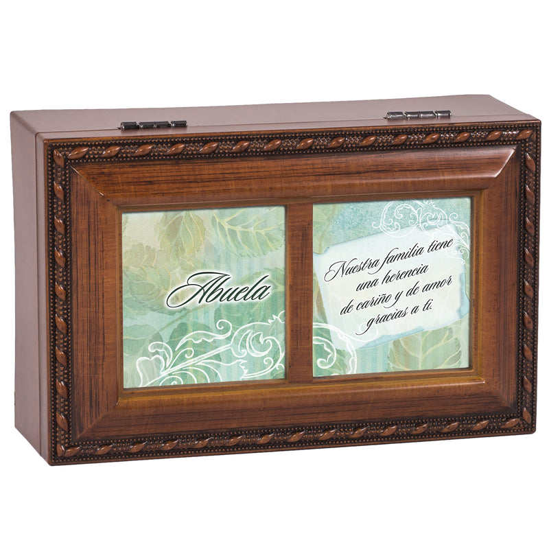 Abuela Herencia de Cariño Woodgrain Rope Trim Jewelry Music Box Plays You Light Up My Life