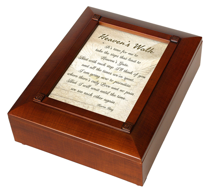 Heaven's Walk Bereavement In Memory Woodgrain Inspirational Keepsake Box