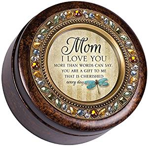 Mom Love You Cherished Gift Amber Earth Tone Jewelry Music Box Plays Wind Beneath My Wings