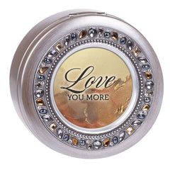 Love You More Grey Brushed Pewter Jeweled Round Music Box Plays Wonderful World