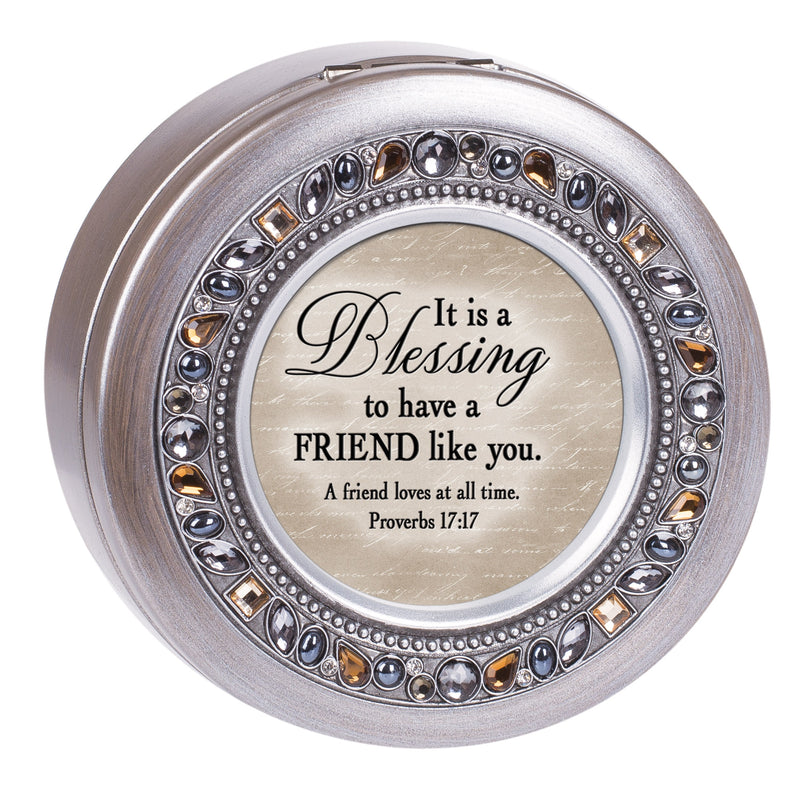 Friend Inspirational Grey Brushed Pewter Jeweled Round Music Box Plays Amazing Grace